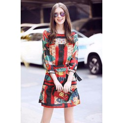 Đầm suông tay lỡ in hoạ tiết xinh iu - DKN3034