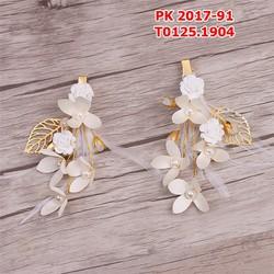 Bộ cặp cài tóc cô dâu hoa trắng lông vũ hạt trai