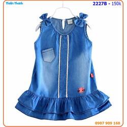 Đầm Jean thun wash thiết kế đuôi cá cực xinh cho bé