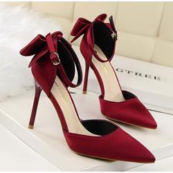 HÀNG NHẬP LOẠI I-Giày cao gót đính nơ hậu