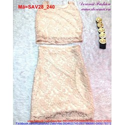 Set ren áo sát nách chân váy ôm màu hồng sang trọng SAV28