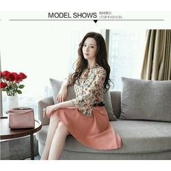 Set áo hoa tay bèo chân váy hồng siêu cute