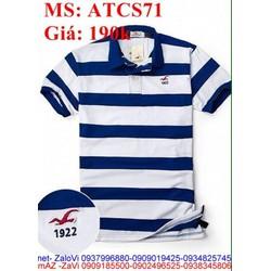 Áo thun nam ngắn tay kiểu cổ bẻ sọc trẻ trung ATCS71
