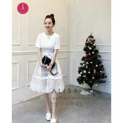 Đầm trắng pha ren cao cấp