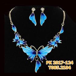Bộ trang sức cô dâu hình bướm màu xanh biển