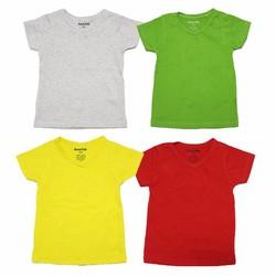 Bộ 4 áo thun cổ tim nhiều màu