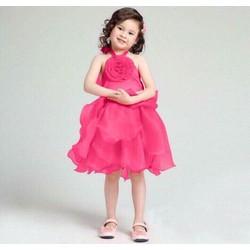 Đầm bé gái màu hồng yếm voan cực xinh