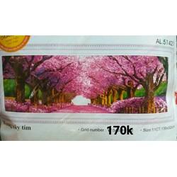 Tranh thêu chữ thập hai hàng cây màu tím