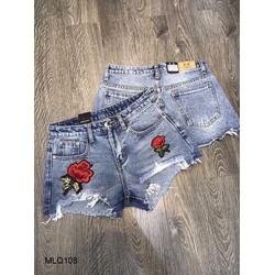 Quần short jean ép hoa