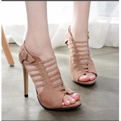 Giày cao gót hở mũi khóa sau