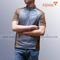 Áo phông thể thao nam cổ trụ màu ghi xanh cực đẹp