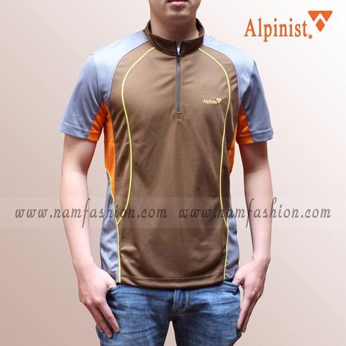 Áo phông thể thao cổ trụ màu nâu