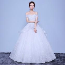Áo cưới công chúa, thân hoa nổi, tùng dợn ren ẩn tinh tế