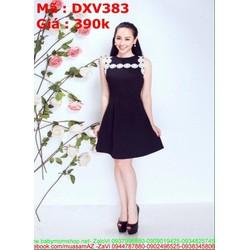Đầm xòe sát nách đen phối hoa trắng trẻ trung cá tính DXV383