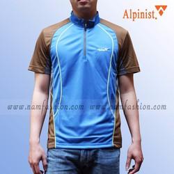 Áo phông thể thao nam cao cấp cổ trụ màu xanh