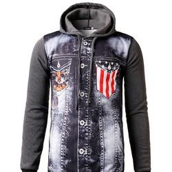 áo hoodie phối túi hình cờ mỹ Mã: NT1633 - XÁM ĐẬM
