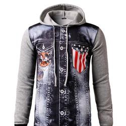 áo hoodie phối túi hình cờ mỹ Mã: NT1633 - XÁM NHẠT