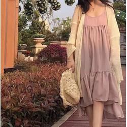 Đầm maxi hồng 2 dây