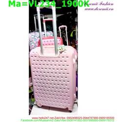 valy kéo màu hồng nhạt in nổi hình mèo kitty VL234