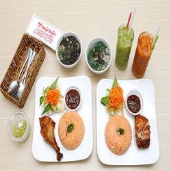 HCM 02 phần Cơm gà da giòn,Canh,Trà sữa Thái Chi nhánh Trần Quang Khải