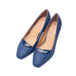 Giày nữ gót trụ phối da bóng