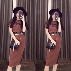 Set áo phối ren + váy ôm - A29939