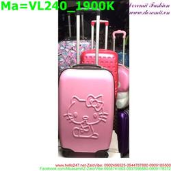 Valy kéo bằng nhựa cứng màu hồng hình mèo kitty in nổi VL240