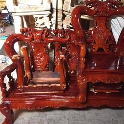Bộ bàn ghế gỗ xà cừ tay 12