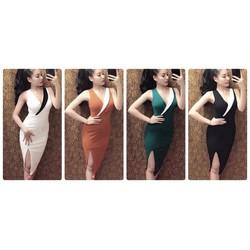 Đầm body phối màu đắp chéo