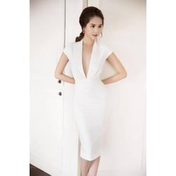 Đầm trắng ôm body đẹp thiết kế khoét ngực sâu như Ngọc Trinh