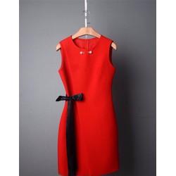 Đầm suông thắt nơ eo đính hạt