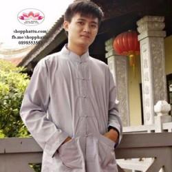 Set Quần áo lam Phật tử nam đi lễ chùa