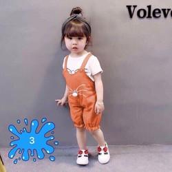 Set yếm mèo kèm áo trong siêu cute cho bé gái