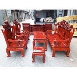 Bộ bàn ghế nghê đỉnh tay 10 gỗ xà cừ