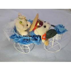 Xe hoa cô dâu chú rể gấu bông mini ngành