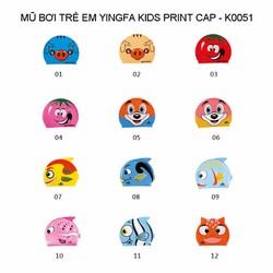 Mũ bơi trẻ em YingFa - KID PRINT CAP - K0051