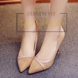 Giày cao gót phối viền da bóng cao cấp Lady-CG19