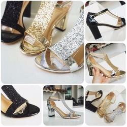 Giày gót vuông nữ phối bảng kim tuyến - LN1170