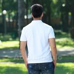 Áo thun nam cổ bẻ dây kéo dài - Tay ngắn - Trắng