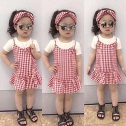 Set 3 món caro thời trang kèm băng đô dễ thương cho bé gái 1-8 tuổi