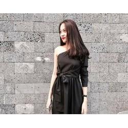 Đầm Maxi Lệch Vai đen