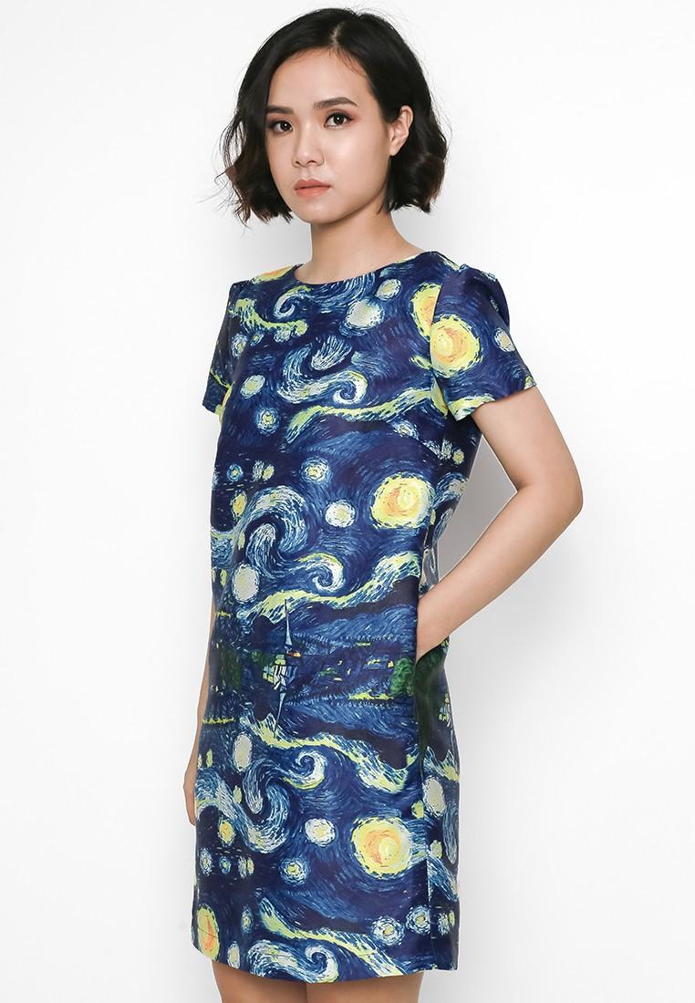 Đầm suông thiết kế hoạ tiết Vangoh 3
