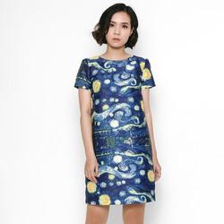 Đầm suông thiết kế hoạ tiết Vangoh