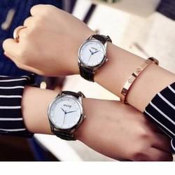 Đồng hồ đôi Misy dây da đen