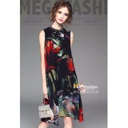 Đầm suông sát nách in hoa viền cổ cực sang kèm đầm thun lót trong
