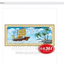 tranh thêu thuận buồm xuôi gió chữ Việt