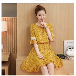 Đầm hoa dáng xòe tay phối ren xinh xắn BY6145
