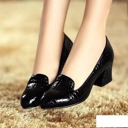 Giày gót vuông vân cá sấu - LN1143