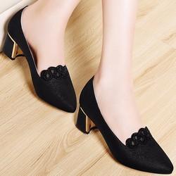 Giày gót vuông nữ phối ren hoa cao cấp - LN1171