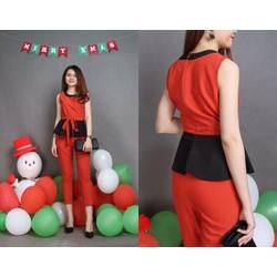 Sét bộ quần lửng + áo peplum phối màu thắt dây eo